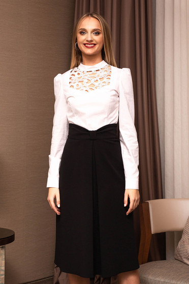 White women`s shirt office long sleeved front cut-out design one back botton fastening
