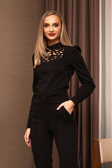 Black women`s shirt office long sleeved front cut-out design one back botton fastening