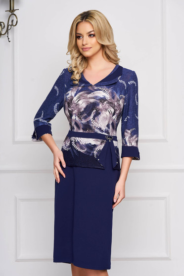 Darkblue dress elegant straight cloth with floral print midi