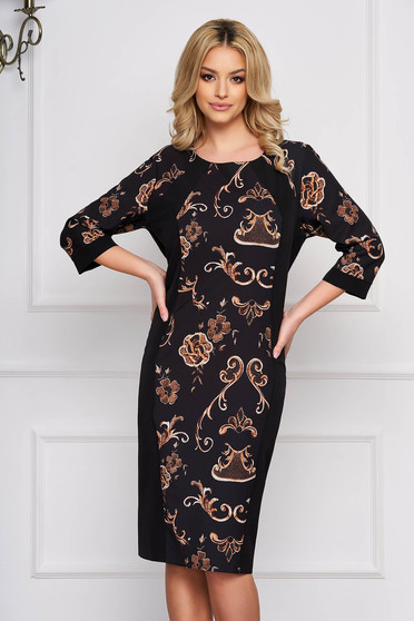 Black dress with graphic details cloth elegant straight midi