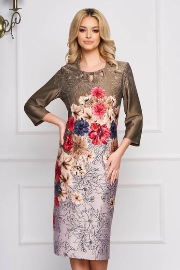 Khaki dress straight midi with floral print metallic details office