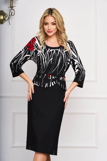 Black dress midi straight with frilled waist office with graphic details