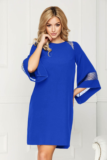 Dress StarShinerS blue occasional cloth midi flared cut with inside lining bell sleeves