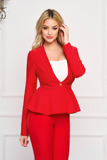 StarShinerS red jacket elegant short cut cloth slightly elastic fabric long sleeved with inside lining