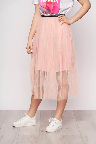 Lightpink skirt casual midi cloche from tulle with elastic waist with inside lining