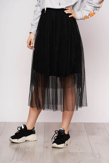 Black skirt casual midi cloche from tulle with elastic waist with inside lining