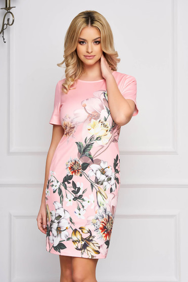 Pink dress straight midi with floral prints slightly elastic fabric elegant