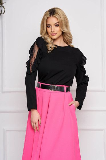 Black women`s blouse from veil fabric elegant with lace details with ruffled sleeves flared short cut