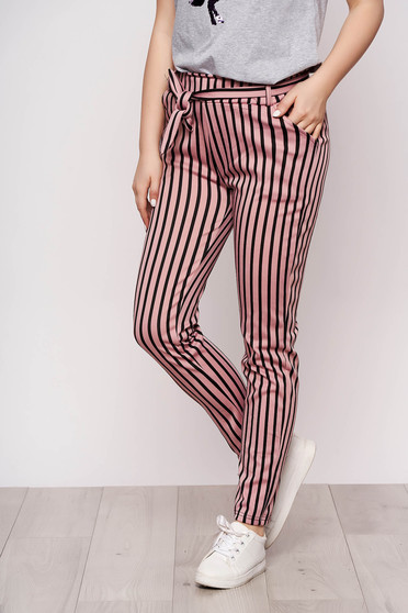 Pink trousers casual thin fabric with pockets detachable cord with stripes