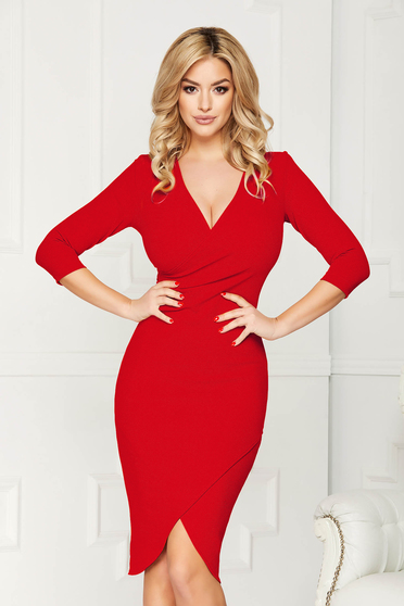 StarShinerS red office wrap around dress from elastic fabric with tented cut with v-neckline