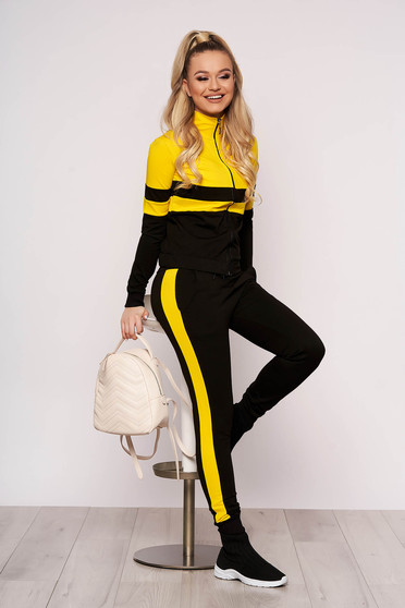 Yellow sport 2 pieces from two pieces with trousers cotton casual