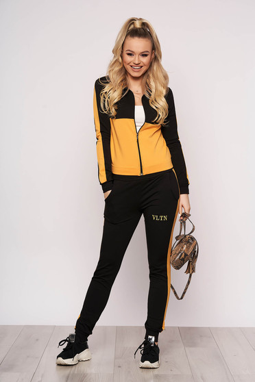 Yellow sport 2 pieces casual tented with trousers with pockets zipper closure blouse