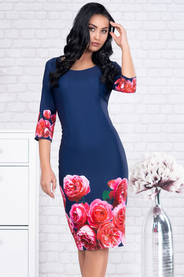 Darkblue dress with floral prints pencil midi office with 3/4 sleeves cloth