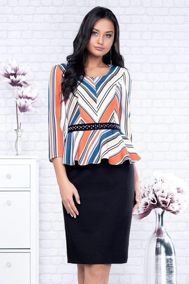 Black dress midi pencil peplum with stripes office cloth with 3/4 sleeves