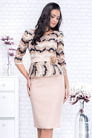 Cream dress occasional accessorized with belt with 3/4 sleeves pencil peplum cloth