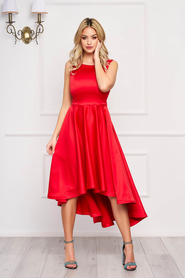 Dress StarShinerS red midi occasional cloche from satin asymmetrical with cut back