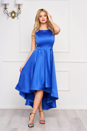 Dress StarShinerS blue midi occasional cloche from satin asymmetrical with cut back