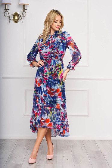 Blue dress with floral prints elegant asymmetrical from veil fabric with elastic waist