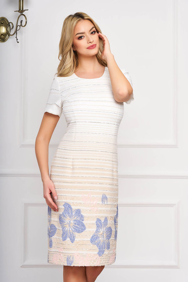 StarShinerS cream dress straight with floral prints cloth midi elegant