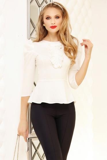 White women`s shirt with ruffle details peplum tented short cut office cotton