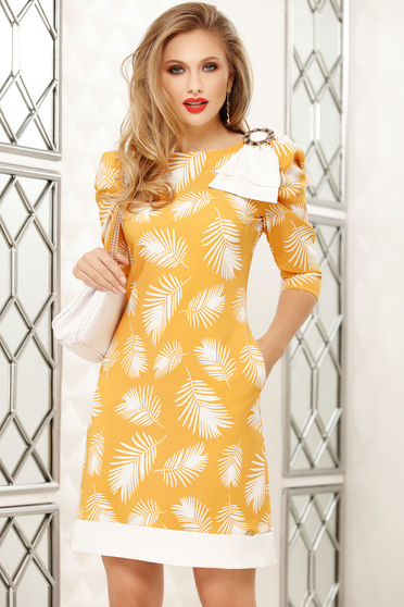 Dress yellow office short cut a-line with floral prints accessorized with breastpin