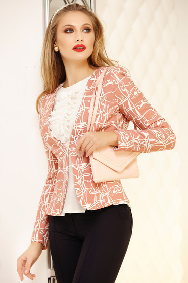 Jacket lightpink office tented short cut with graphic print cloth