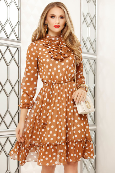 Cream dress elegant short cut from veil fabric dots print long sleeved