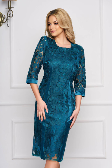Green dress manual embroidered lace occasional pencil midi laced