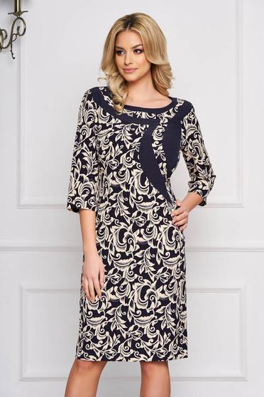 Darkblue dress with graphic details straight midi cloth elegant