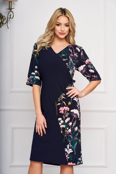 Darkblue dress with floral prints straight elegant midi cloth