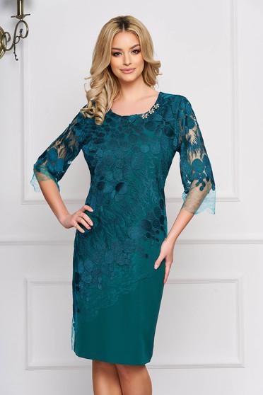 Green dress accessorized with breastpin occasional midi pencil laced cloth