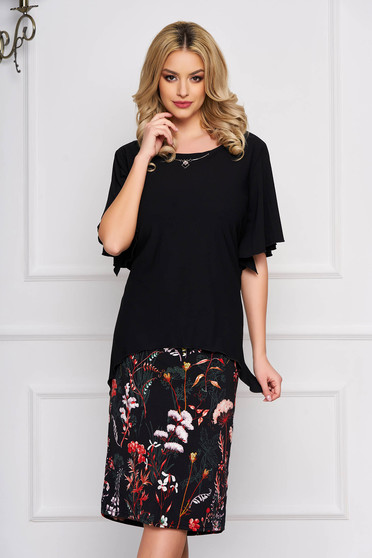 Black dress straight elegant midi cloth