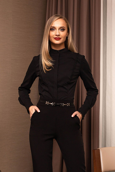 Black women`s shirt office tented short cut with buttons long sleeved
