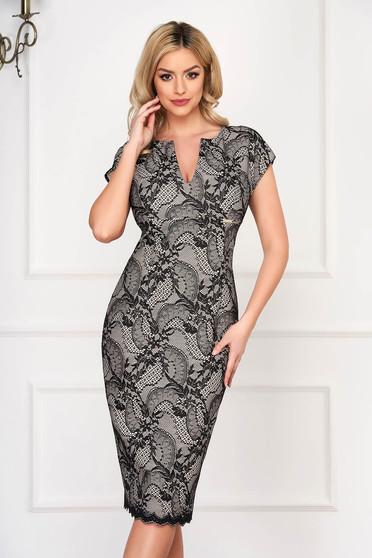 Black dress with v-neckline occasional midi pencil cloth laced