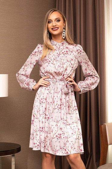 Lightpink dress from veil fabric cloche midi office accessorized with tied waistband with floral prints