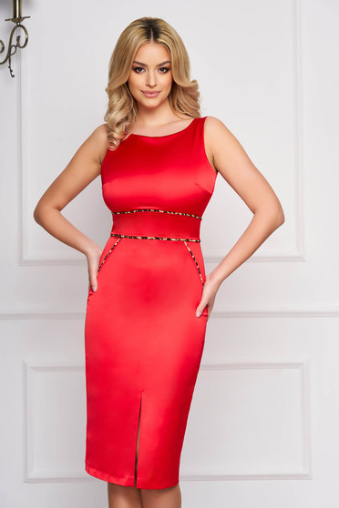 Dress StarShinerS red midi occasional pencil from satin velvet insertions with animal print