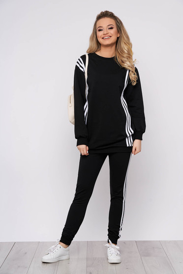 Black sport 2 pieces sporty 2 pieces with trousers cotton with writing print women`s blouse