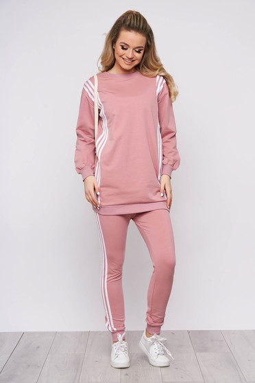 Lightpink sport 2 pieces sporty 2 pieces with trousers cotton with writing print women`s blouse