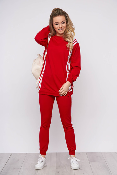 Red sport 2 pieces sporty 2 pieces with trousers cotton with writing print women`s blouse
