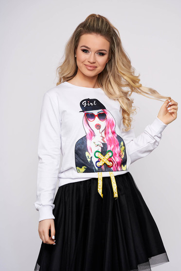 White women`s blouse casual short cut flared cotton with graphic details