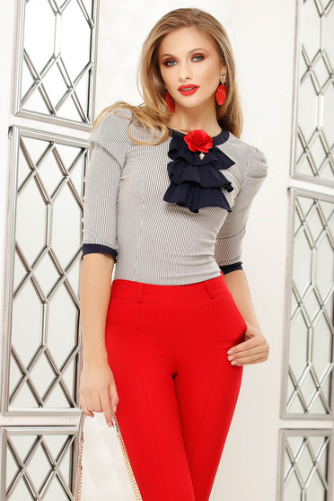 Darkblue women`s shirt with stripes elegant with flower shaped brestpin
