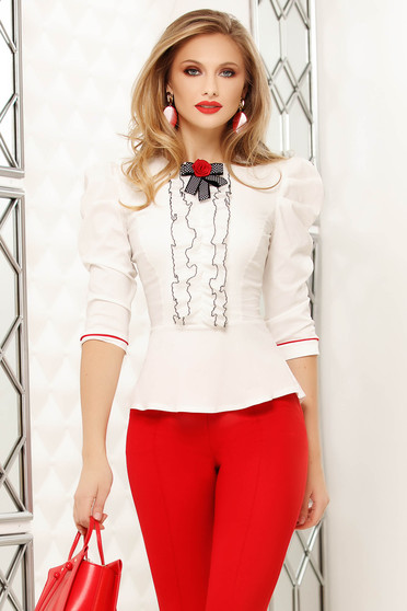 White women`s shirt tented with bow back buttons fastening classical
