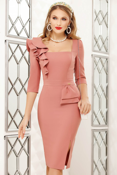 Lightpink dress midi pencil office with ruffle details cloth