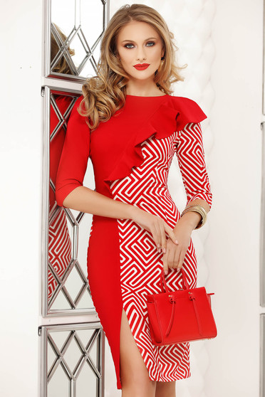 Red dress pencil midi slit with ruffles on the chest office with graphic details