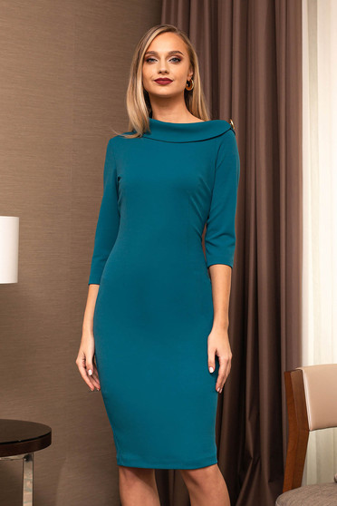 Turquoise dress office elegant pencil with 3/4 sleeves back slit