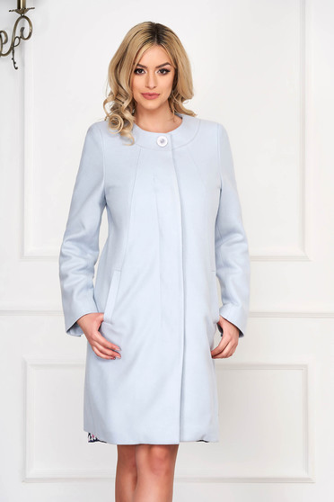 Aqua trenchcoat elegant short cut wool straight one button fastening