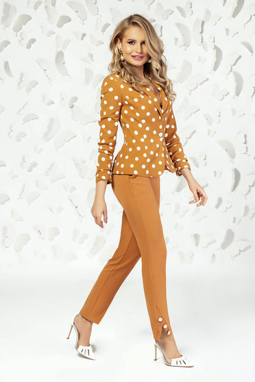 Mustard trousers elegant straight medium waist with pockets