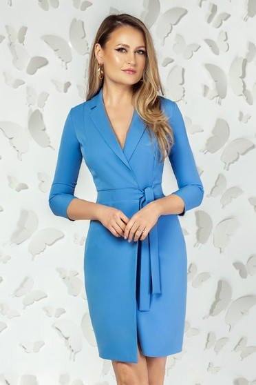 Blue dress elegant short cut pencil with v-neckline with 3/4 sleeves
