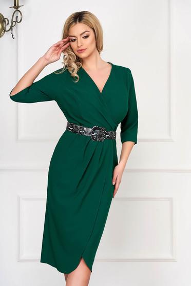 Green dress elegant accessorized with belt midi pencil wrap around