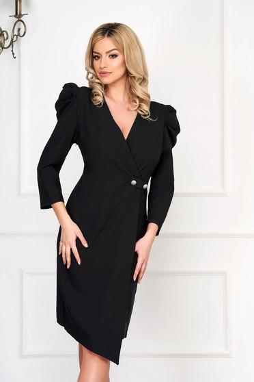 Black dress elegant midi asymmetrical pencil cloth high shoulders